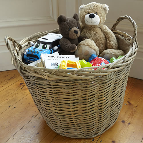 Round wicker toy storage basket