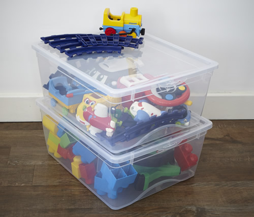 Set of 2 stacking toy storage boxes