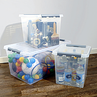 Lidded Plastic Toy Storage Box - 52Ltr