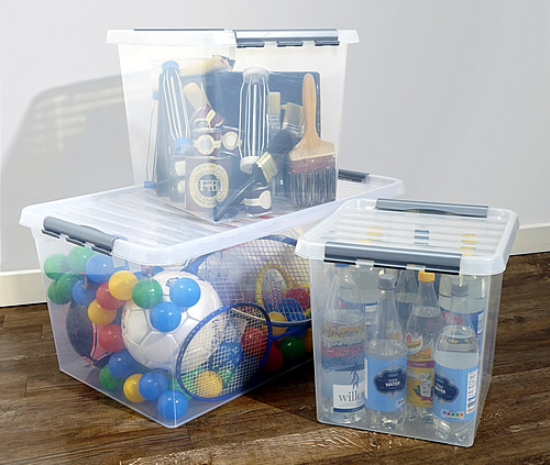 52ltr clear plastic toy storage box