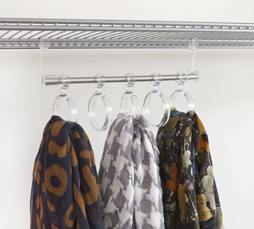 Under shelf 5 loop scarf hanger