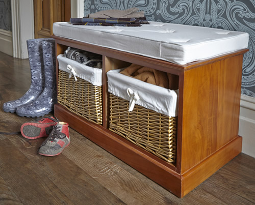 Hallway bench with 2 willow storage baskets