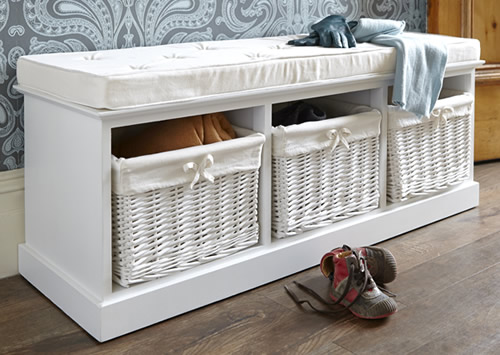 Hallway storage bench with 3 willow baskets