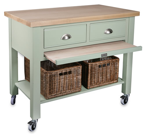 2 drawer beech wood kitchen trolley - baydon
