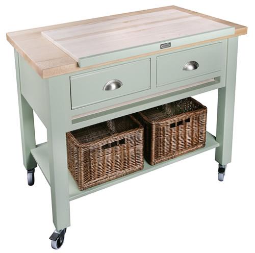 2 drawer beech wood kitchen trolley