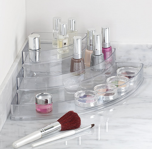 Clear 3 tier corner organiser for cosmetics and make-up