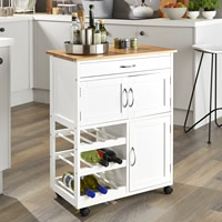 Kitchen Trolley with Bamboo Top