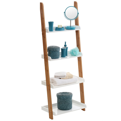 Outstanding Gloss White Bamboo Ladder Shelf Store Bathroom Storage Beutiful Home Inspiration Truamahrainfo