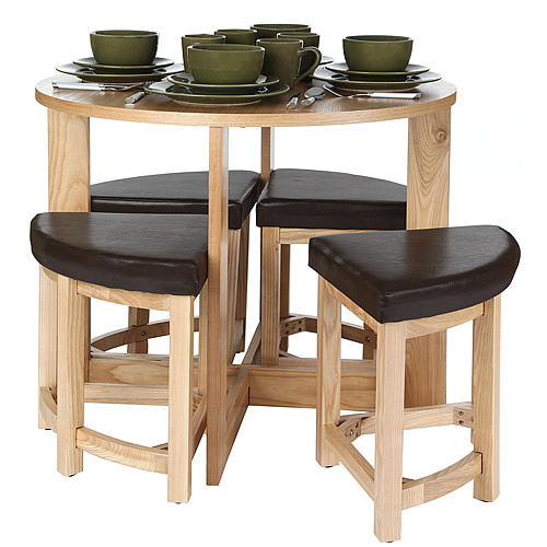 Space Saving Kitchen Table & Stool Set Home Storage