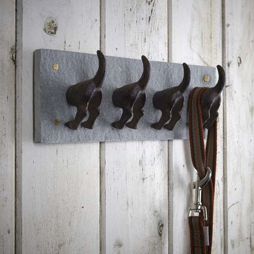 Cast iron and slate dog tails storage hook