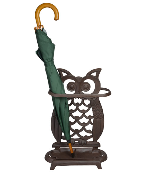Cast iron owl shaped umbrella stand