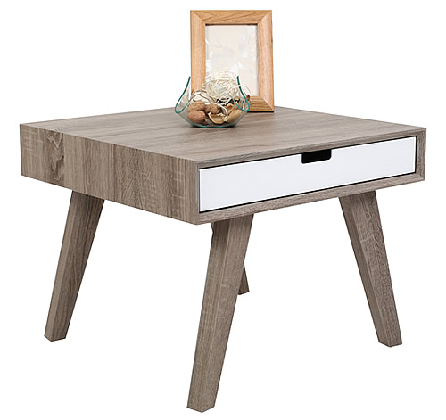 One drawer side table with Ash veneer finish