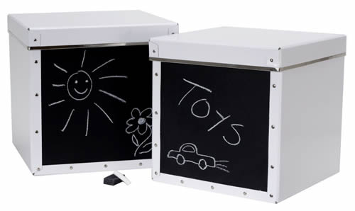 Chalk board fronted storage boxes