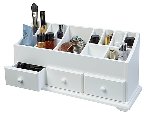 White wood cosmetics organiser and dressing table caddy