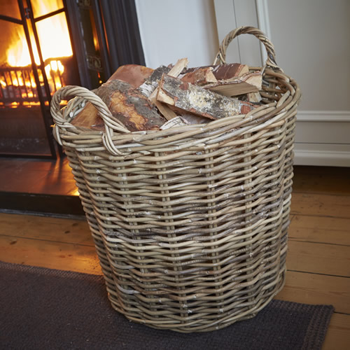 Large wicker log basket