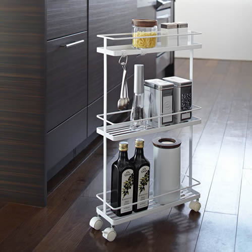 3 shelf slimline kitchen storage trolley