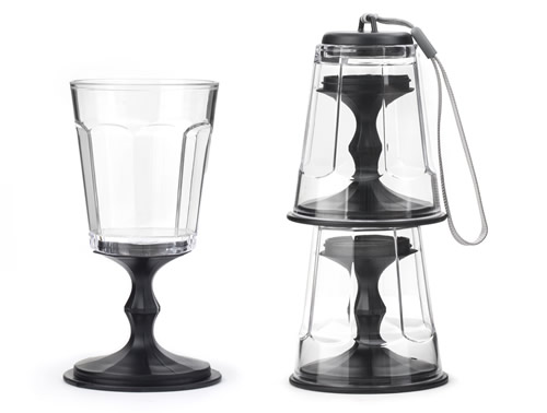 Set of 2 stackable wine glasses