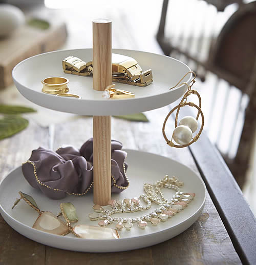 2 tier white and birch accessory tray - Tosca