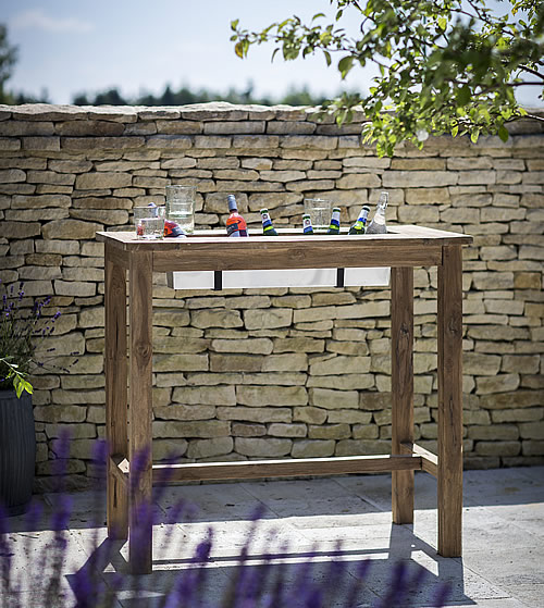 Reclaimed teak bar table with drinks cooler - St Mawes