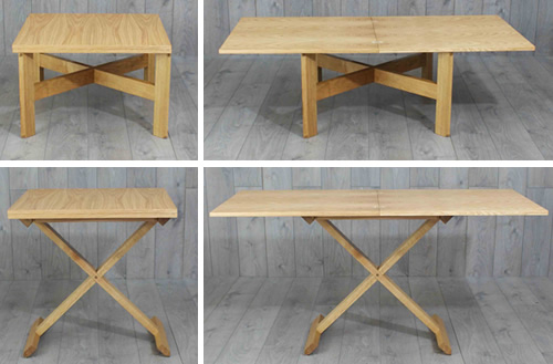 Oak convertable table, coffee table, dining table