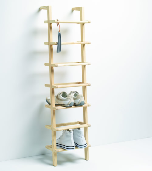 Wooden Ladder Shoe Rack Tall