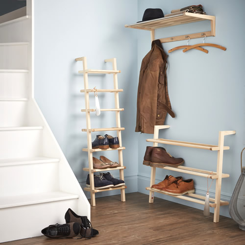 Wooden Ladder Shoe Rack - Tall