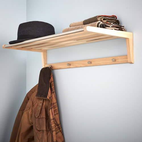 Ash wood hanging rail, hooks and shelf - Schon Anders