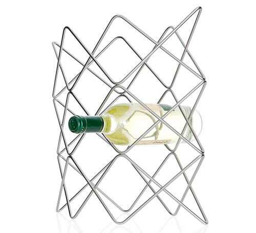 Nickel plated steel free standing 8 bottle wine rack