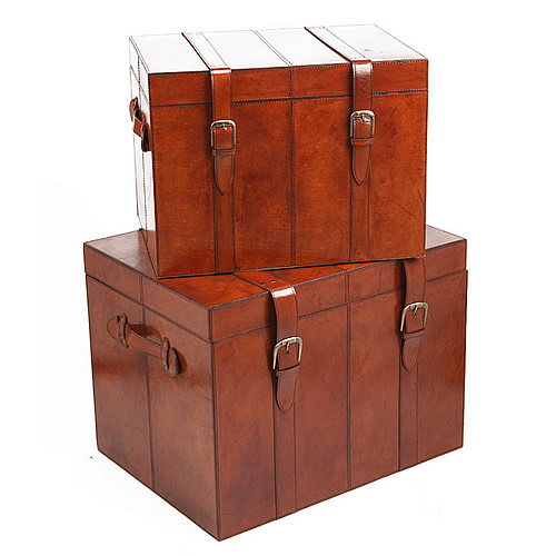Set of 2 Buffalo leather storage trunks