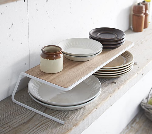 Scandi Cupboard Plate Stacking Shelf - Large