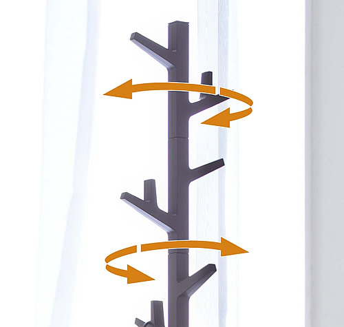 Tree shaped coat rack with swivelling branches