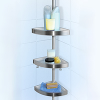 Self Fixing Corner Shower Caddy - Brushed Metal