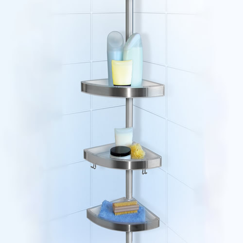 tension shower caddy for floor to ceiling storage