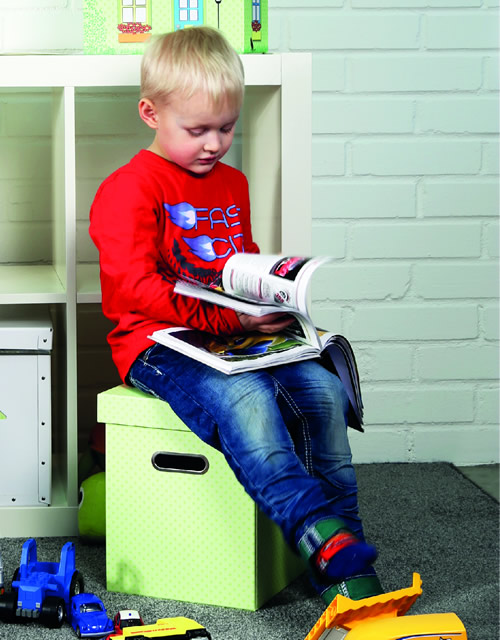 Fibreboard toy storage box and stool