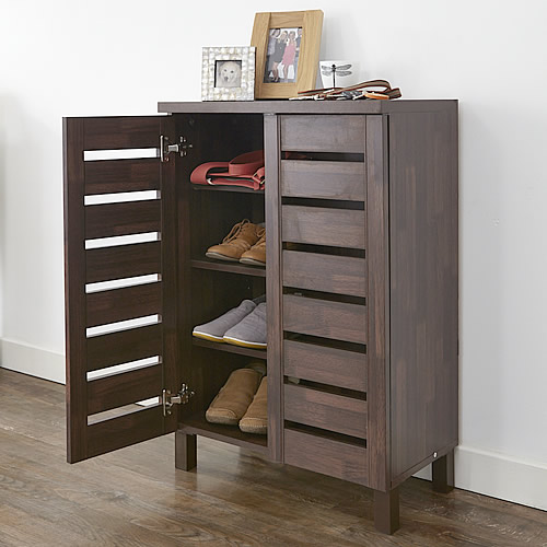 HOME slatted 2 door shoe storage cabinet - mahogany effect & STORE | Slatted Shoe Storage Cabinet - Mahogany Effect