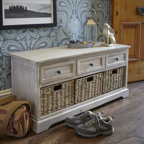 lime-washed / white-washed hallway storage bench