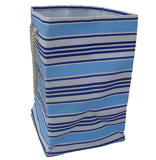 Fabric striped toy storage bag with rope handles