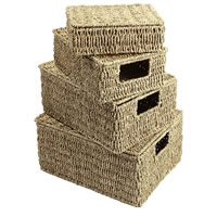 Set of 4 Lidded Seagrass Baskets