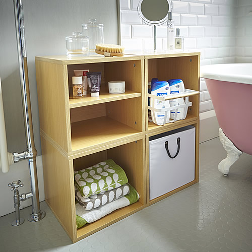 Modular bathrrom storage cube solution with removable basket