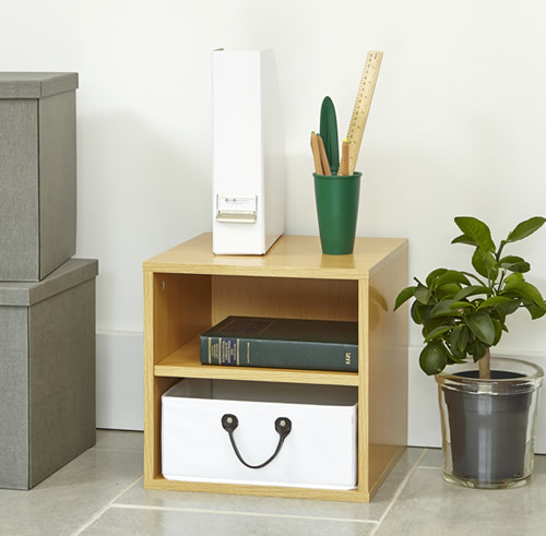 Modular office storage cube solution with removable basket