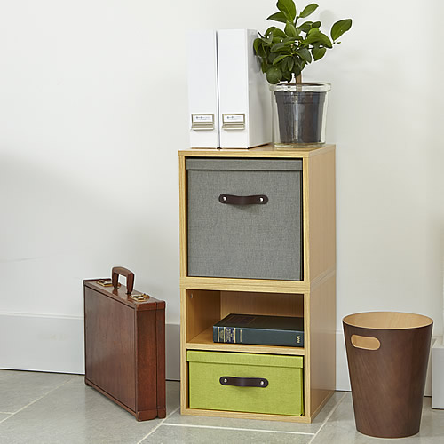 Modular wooden office storage cube solution with removable baskets