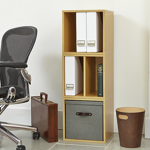 Modular office storage cube solution with removable lidded boxes
