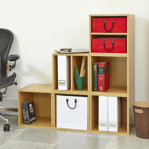 Office modular storage cube solution with removable baskets