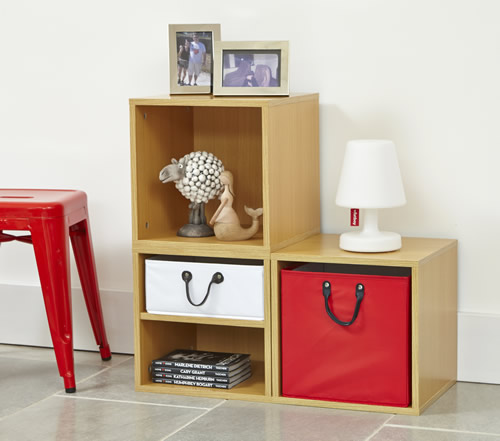 Living room modular storage cubes with removable baskets
