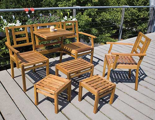 Wooden Compact 5 Piece Garden Furniture Set - MyBalconia