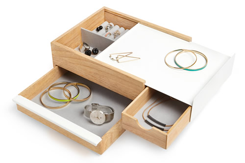White metal and wood jewellery box with hidden drawer