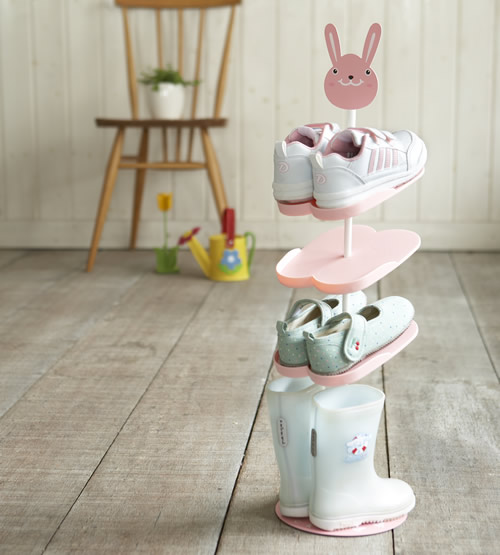 Childrens shoe storage rack for 4 pairs of shoes