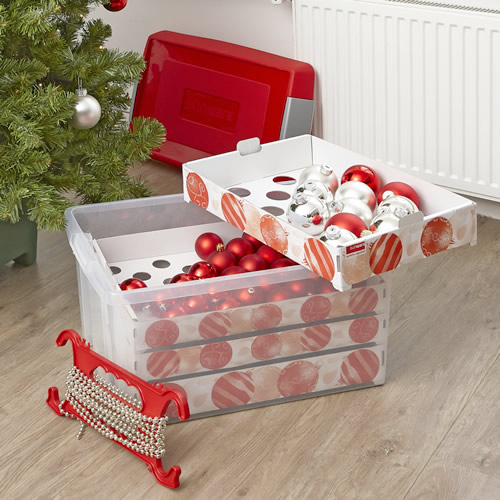 60 litre capacity extra large christmas decoration storage box with lid and bauble storage insert trays