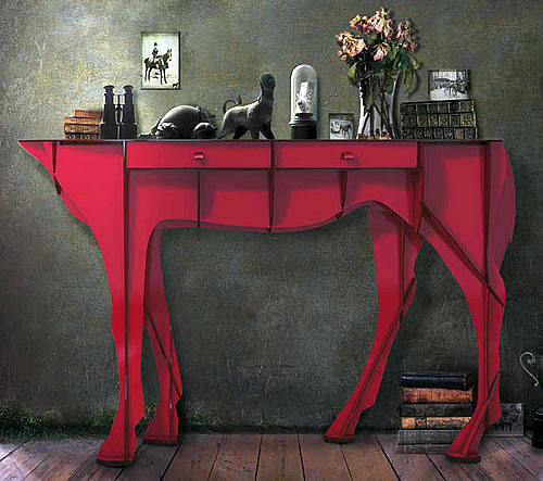 Horse shaped console table with 2 storage drawers - Ibride