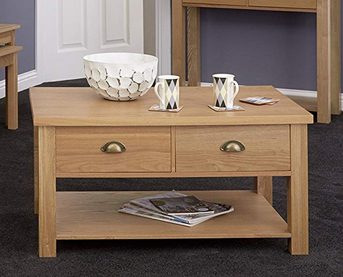 Oak veneer coffee table with storage drawer and shelf - Westbury